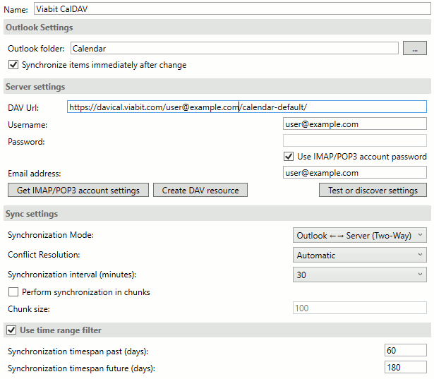 Outlook CalDAV settings screenshot