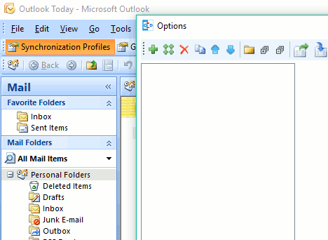 Outlook synchronization profiles screenshot