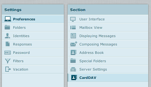 Screenshot of the CardDAV settings menu item